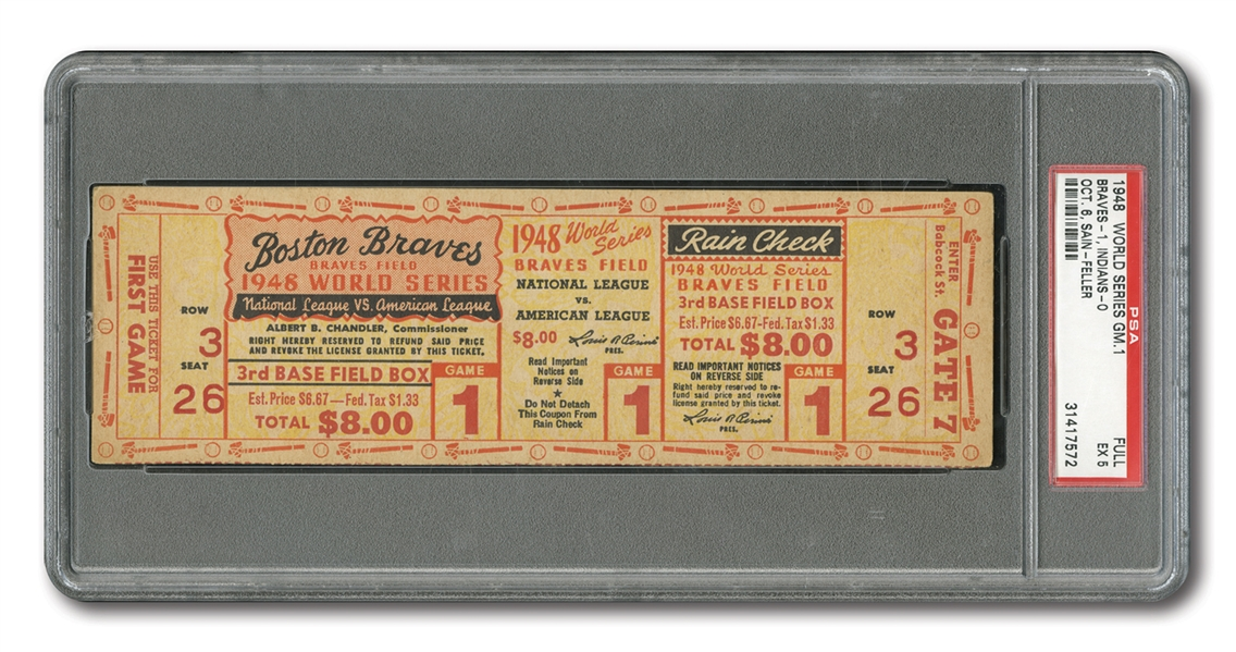 1948 WORLD SERIES (INDIANS AT BRAVES) GAME 1 FULL TICKET - PSA EX 5