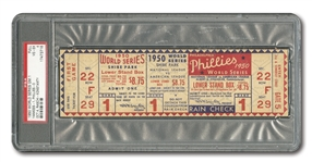 1950 WORLD SERIES (YANKEES VS. PHILLIES) GAME 1 FULL TICKET - PSA VG-EX 4