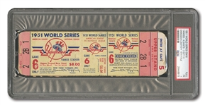 1951 WORLD SERIES (YANKEES VS. GIANTS) GAME 6 FULL TICKET (YANKS CLINCH, DiMAGGIOS LAST CAREER GAME) - PSA PR 1 (ONLY ONE HIGHER)