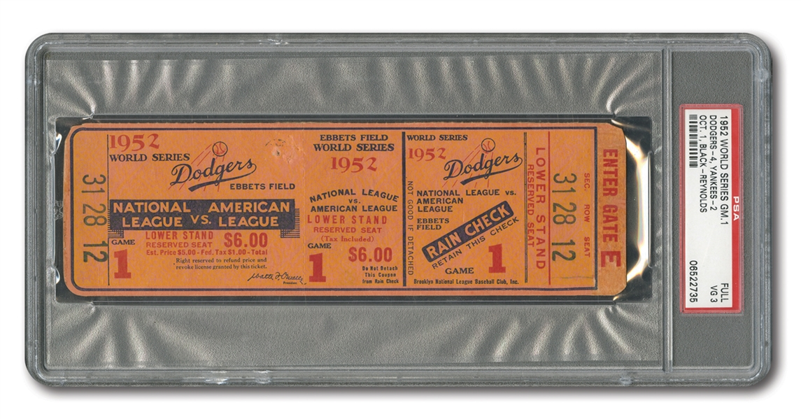 1952 WORLD SERIES (YANKEES AT DODGERS) GAME 1 FULL TICKET (JACKIE ROBINSONS 1ST W.S. HR) - PSA VG 3 (1/2)