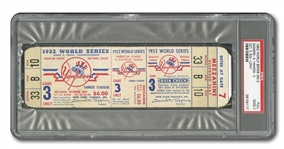 1952 WORLD SERIES (YANKEES VS. DODGERS) GAME 3 FULL TICKET - PSA GD 2