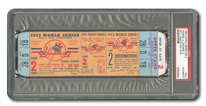 1953 WORLD SERIES (YANKEES VS. DODGERS) GAME 2 FULL TICKET - PSA AUTHENTIC