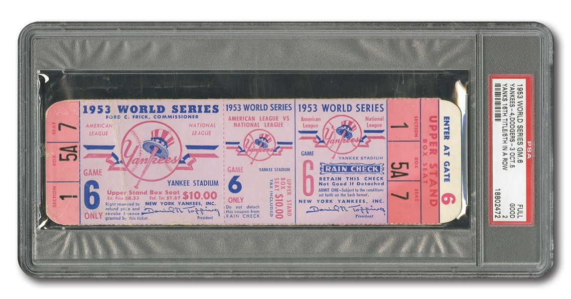 1953 WORLD SERIES (YANKEES VS. DODGERS) GAME 6 FULL TICKET - PSA GD 2