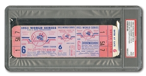 1953 WORLD SERIES (YANKEES VS. DODGERS) GAME 6 FULL TICKET (NYY CLINCH RECORD 5TH STRAIGHT W.S. TITLE) - PSA GD 2