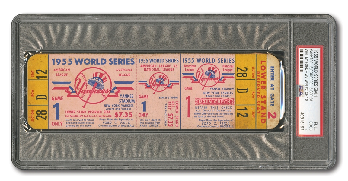 1955 WORLD SERIES (DODGERS AT YANKEES) GAME 1 FULL TICKET - JACKIE STEALS HOME (PSA GD 2)