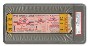 1955 WORLD SERIES (DODGERS AT YANKEES) GAME 1 FULL TICKET (JACKIE STEALS HOME) - PSA GD 2