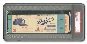 1955 WORLD SERIES (DODGERS VS. YANKEES) GAME 3 FULL TICKET (MANTLES 5TH W.S. HR) - PSA GD 2