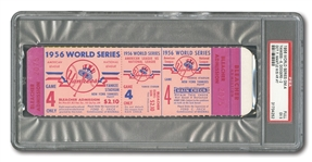 1956 WORLD SERIES (YANKEES VS. DODGERS) GAME 4 FULL TICKET - PSA EX 5