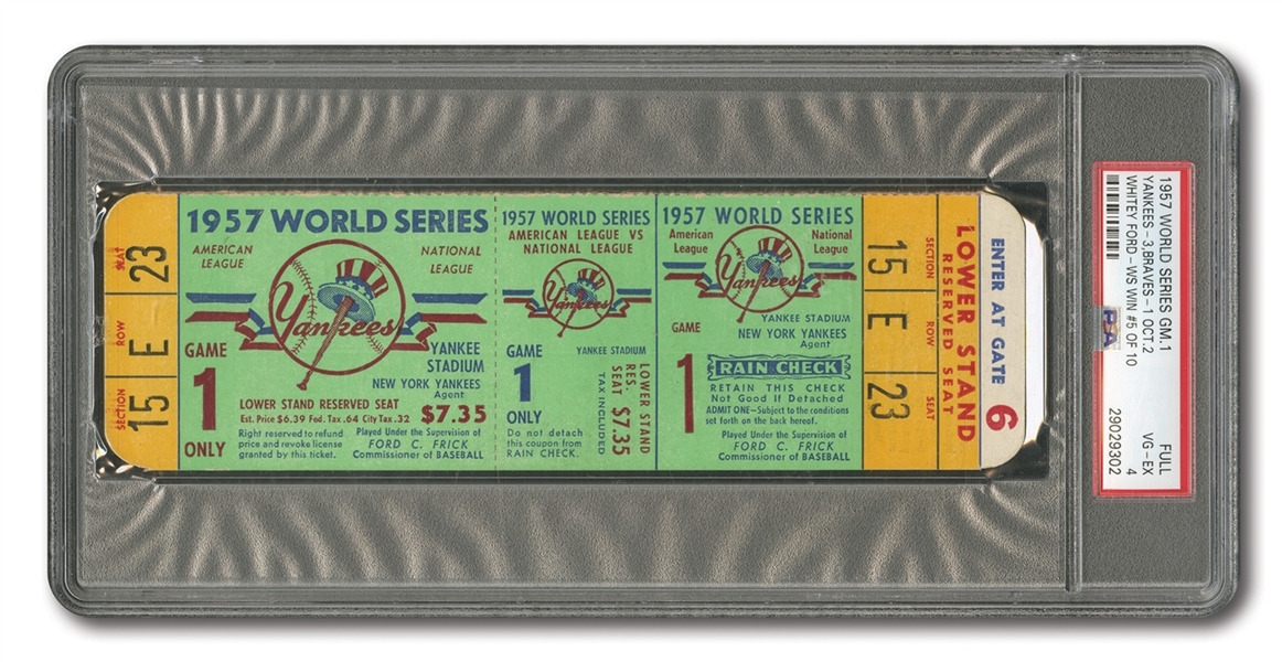 1957 WORLD SERIES (BRAVES AT YANKEES) GAME 1 FULL TICKET - PSA VG-EX 4