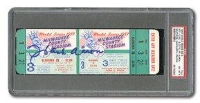 1957 WORLD SERIES (BRAVES VS. YANKEES) GAME 3 FULL TICKET SIGNED BY HANK AARON - PSA NM-MT 8 (TICKET); PSA/DNA AUTHENTIC (AUTO.)