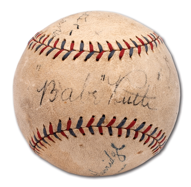 C. 1931 BABE RUTH, LOU GEHRIG AND TRIS SPEAKER MULTI-SIGNED OAL (HARRIDGE) BASEBALL
