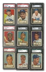 1952 TOPPS BASEBALL COMPLETE MASTER SET WITH (491) CARDS INCL. 80 BLACK BACKS & 4 ERRORS/VARIATIONS - 62 GRADED BY PSA OR SGC!