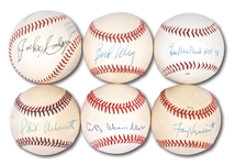 LOT OF (6) MLB COMMISSIONER, LEAGUE PRESIDENTS & UMPIRE SIGNED BASEBALLS - FIVE SINGLES, ONE DUAL