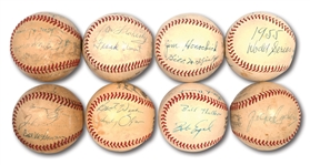 MLB UMPIRES COLLECTION OF (8) VINTAGE MULTI-SIGNED BASEBALLS