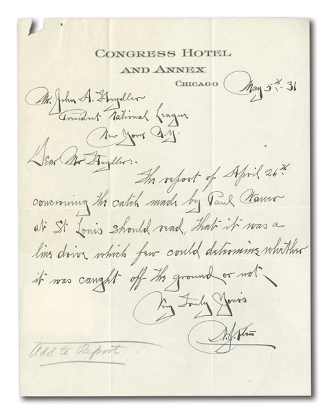 1931 BILL KLEM HANDWRITTEN LETTER TO JOHN HEYDLER REFERENCING RULING OF PLAY BY PAUL WANER
