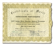 "1937 MORDECAI ""THREE FINGER"" BROWN SIGNED CERTIFICATE"