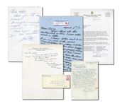 HALL OF FAME HANDWRITTEN AND SIGNED LETTER COLLECTION OF (5) INCL. CRAWFORD, WHEAT, SCHALK, MARQUARD AND RICKEY