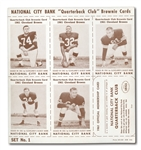 1962 CLEVELAND BROWNS NATIONAL BANK NEAR SET (30/36) IN 5 UNCUT PANELS