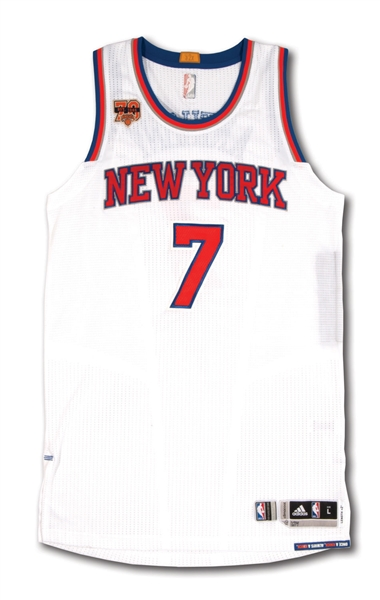 2016-17 CARMELO ANTHONY NEW YORK KNICKS GAME WORN HOME JERSEY