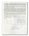 1963 ZELMO BEATY SIGNED ST. LOUIS HAWKS UNIFORM PLAYERS CONTRACT