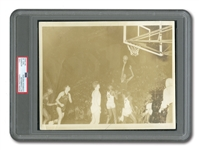 "C. 1953-55 WILT CHAMBERLAIN OVERBROOK H.S. (PHILADELPHIA) ORIGINAL PHOTOGRAPH - ""THE DIPPER TAKES A JUMPER"" (PSA/DNA TYPE I)"