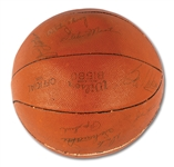 1954-1955 MINNEAPOLIS LAKERS TEAM SIGNED BASKETBALL INCL. HALL OF FAMERS MIKAN, MIKKELSEN, KUNDLA, & MARTIN