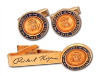 PRESIDENT RICHARD NIXON CUFFLINKS AND TIE TACK (NAME ENGRAVED) SET WITH USA PRESIDENTIAL SEAL