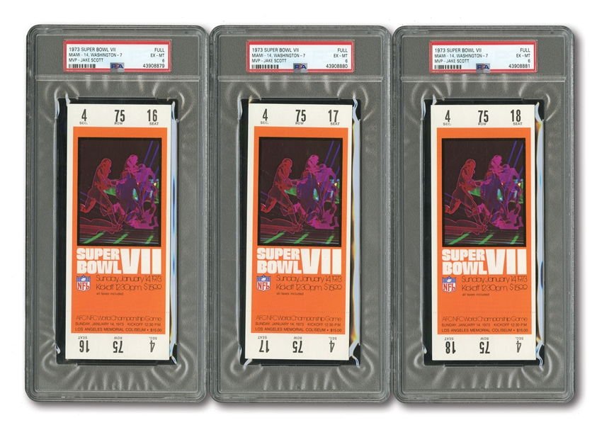 LOT OF (3) 1973 SUPER BOWL VII (DOLPHINS 14, REDSKINS 7) FULL TICKETS - MIAMI COMPLETES ONLY PERFECT SEASON IN NFL HISTORY! (ALL PSA EX-MT 6)