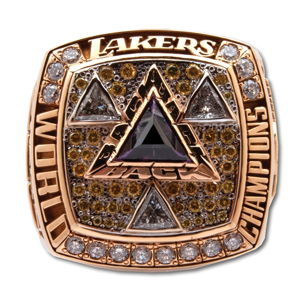 GEORGE MIKANS 2002 LOS ANGELES LAKERS (THREE-PEAT) WORLD CHAMPIONS 14K GOLD RING WITH ORIGINAL PRESENTATION BOX (MIKAN FAMILY & JEANIE BUSS LOAS)