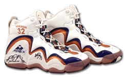 1998 KARL MALONE DUAL-SIGNED NBA FINALS GAME 6 WORN & PHOTO-MATCHED SHOES - 31 PTS, 11 REBS & 7 AST. (RGU LOA, JAMAL ANDERSON LOA)
