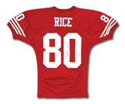 SEPT. 10, 1995 JERRY RICE SIGNED SAN FRANCISCO 49ERS GAME WORN HOME JERSEY - 11 REC./167 YDS./2 TDS. VS. ATL (RESOLUTION PHOTO-MATCHED, 49ERS LOA)