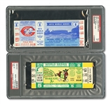 1972 WORLD SERIES (REDS/AS) PAIR OF FULL TICKETS - GAME 5 @ OAK (PSA EX-MT 6) AND GAME 6 @ CIN (PSA NM 7)