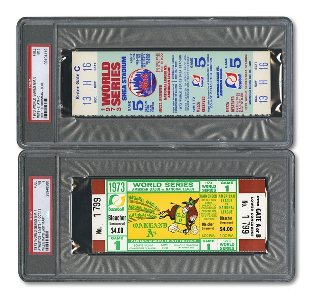 1973 WORLD SERIES (AS/METS) PAIR OF FULL TICKETS - GAME 1 @ OAK (PSA VG 3) AND GAME 5 @ NY (PSA EX 5)