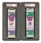1974 WORLD SERIES (AS/DODGERS) PAIR OF FULL TICKETS - GAME 1 @ LA (PSA VG-EX 4) AND GAME 3 @ OAK (PSA VG 3)