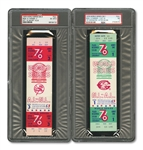 1976 WORLD SERIES (REDS/YANKEES) PAIR OF FULL TICKETS - GAME 1 @ CIN (PSA NM 7) AND GAME 3 @ NY (PSA EX-MT 6)