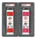 1987 WORLD SERIES (TWINS/CARDINALS) PAIR OF FULL TICKETS - GAME 1 @ MIN (PSA VG-EX 4) AND GAME 3 @ STL (PSA MINT 9)