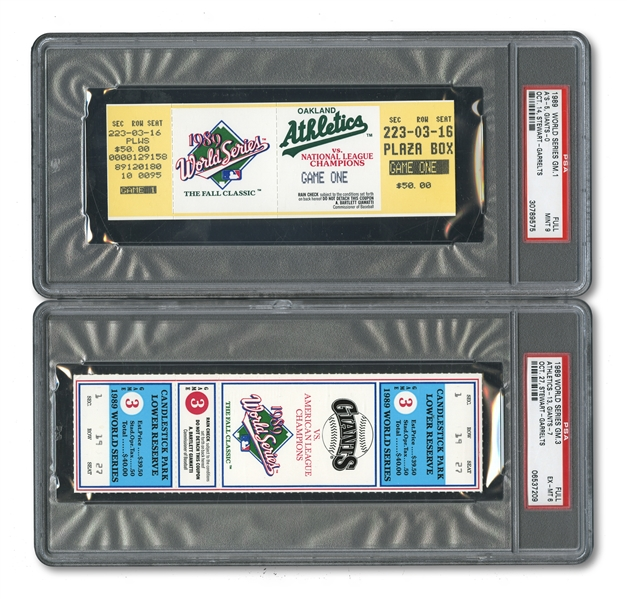 "1989 WORLD SERIES (AS/GIANTS) PAIR OF FULL TICKETS - GAME 1 @ OAK (PSA MINT 9) AND ""EARTHQUAKE"" GAME 3 @ SF (PSA EX-MT 6)"