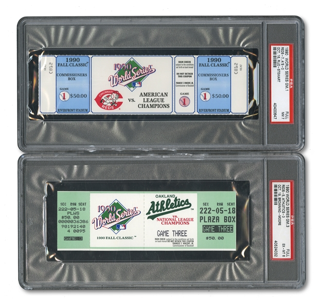 1990 WORLD SERIES (AS/REDS) PAIR OF FULL TICKETS - GAME 1 @ CIN (PSA NM 7) AND GAME 3 @ OAK (PSA EX-MT 6)