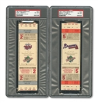 1991 WORLD SERIES (TWINS/BRAVES) PAIR OF FULL TICKETS - GAME 2 @ MIN & GAME 5 @ ATL (BOTH PSA NM-MT 8)