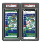 1996 WORLD SERIES (BRAVES/YANKEES) PAIR OF FULL TICKETS - GAME 1 @ NY (PSA NM-MT 8) AND GAME 3 @ ATL (PSA EX 5)