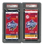 1998 WORLD SERIES (YANKEES/PADRES) PAIR OF FULL TICKETS - GAME 2 @ NY (PSA NM-MT 8) AND GAME 3 @ SD (PSA MINT 9)