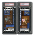 2003 WORLD SERIES (MARLINS/YANKEES) PAIR OF FULL TICKETS - GAME 1 @ NY (PSA VG-EX 4) AND GAME 3 @ MIA (PSA EX-MT 6)