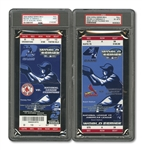 2004 WORLD SERIES (RED SOX/CARDINALS) PAIR OF FULL TICKETS - GAME 2 @ BOS (PSA GD 2) AND RED SOX W.S. CLINCHER GAME 4 @ STL (PSA EX-MT 6)