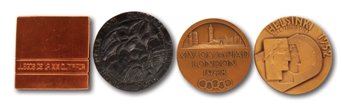LOT OF (4) SUMMER OLYMPICS PARTICIPATION MEDALS: 1948 LONDON, 1952 HELSINKI, 1960 ROME & 1968 MEXICO CITY