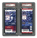 2006 WORLD SERIES (CARDINALS/TIGERS) PAIR OF FULL TICKETS - GAME 2 @ DET (PSA MINT 9) AND GAME 5 TICKET USED FOR GAME 4 @ STL (RAIN DELAY)(PSA NM-MT 8)