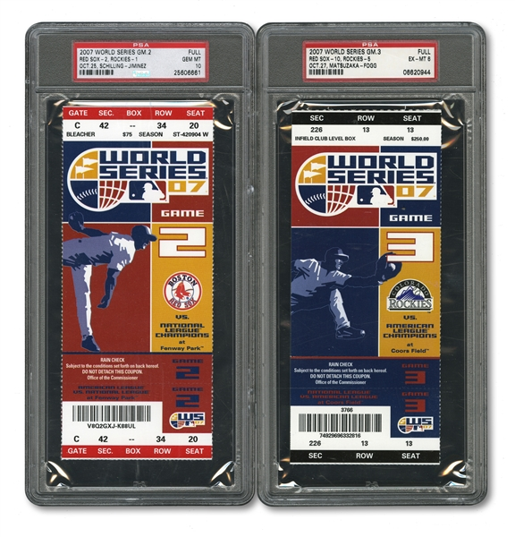 2007 WORLD SERIES (RED SOX/ROCKIES) PAIR OF FULL TICKETS - GAME 2 @ BOS (PSA GEM-MT 10) AND GAME 3 @ COL (PSA EX-MT 6)