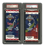 2008 WORLD SERIES (PHILLIES/RAYS) PAIR OF FULL TICKETS - GAME 1 @ TB (PSA NM 7) AND GAME 5 CLINCHER @ PHI (PSA GEM-MT 10)