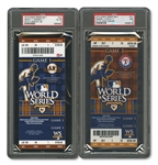 2010 WORLD SERIES (GIANTS/RANGERS) PAIR OF FULL TICKETS - GAME 1 @ SF (PSA EX-MT 6) AND GAME 3 @ TEX (PSA MINT 9)