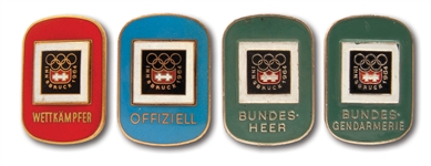 LOT OF (4) 1964 INNSBRUCK WINTER OLYMPICS BADGES: OFFICIAL, PARTICIPANT, FEDERAL POLICE & FEDERAL ARMY