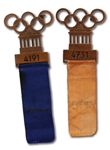 PAIR OF 1936 BERLIN SUMMER OLYMPICS PARTICIPANT BADGES FOR SWIMMING AND ROWING